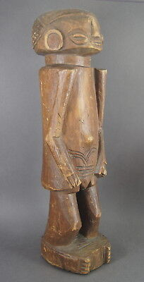 Charming Old Chokwe Lwena Carved Wooden Female Figure Statue African Tribal Art