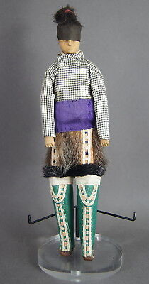 Fine Antique Inuit Native American Carved Wooden & Embroidered Doll Greenland Nr