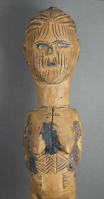 Fine Old D.r. Congo Teke Carved Wooden African Tribal Figure Glass Eyes & Charge