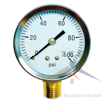 "Air Compressor Pressure / Hydraulic Gauge 2"" Face Side Mount 1/4"" NPT 0-100 PSI"