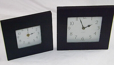 Shabby Chic Wooden Navy Blue Wall Clocks Toshigi Japan Quartz Movements x 2