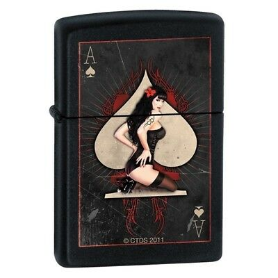 Zippo Lighter - Ace of Spades Pinup Black Matte