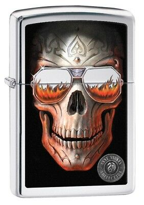 Zippo Lighter - Anne Stokes Skull High Polish Chrome
