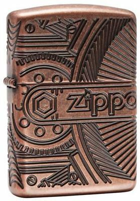 Zippo Lighter - Gears Antique Copper