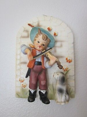 Erich Stauffer Designed Vintage Wall Plaque Boy with Violin & Watching Dog S8399