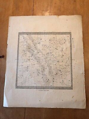 Antique 1830 Letts, Son & Co Ltd Astrology Astronomy Constellation Chart Map