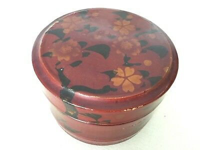 Antique  Vintage Japanese Lacquerware Circular Lidded Box with Floral Decor
