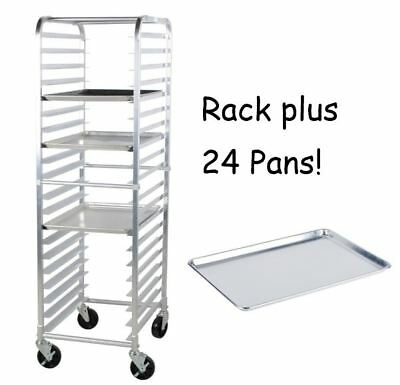"24 PACK Full Size 18"" x 26"" Pans + 20 Pan Rack Commercial Dough Baking Bun Sheet"