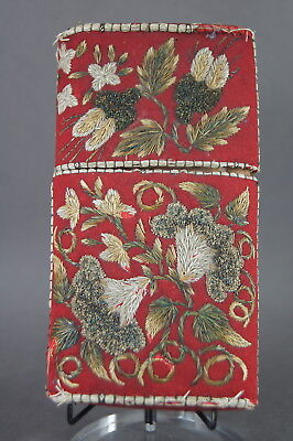 Rare Antique Native American Indian Huron Micmac Moosehair Embroidered Card Case