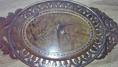 Antique Black Forest / Sorrento? Inlaid Carved Wood Fretwork Hand Mirror