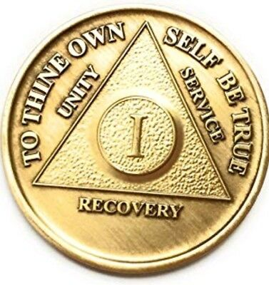 AA 1 / ONE YEAR RECOVERY CHIP ANTIQUE BRONZE Alcoholics Anonymous Sobriety Coin