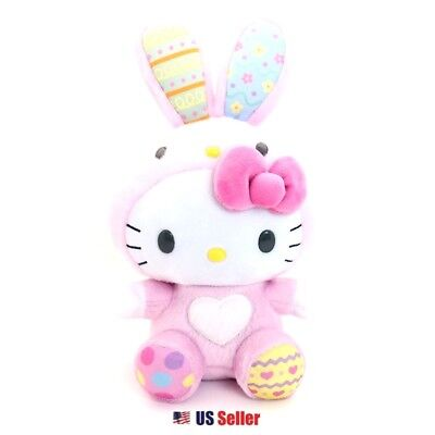 "Sanrio Hello Kitty Easter Bunny 8"" Fluffy Plush Doll Toy with Pink Bow"