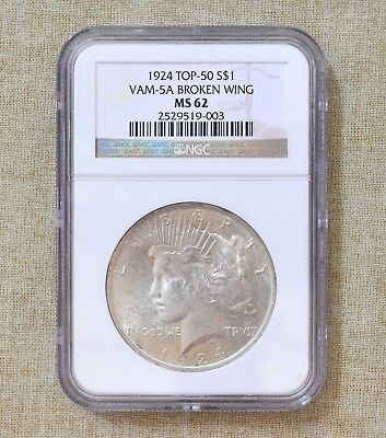 1924 Peace Dollar - Ngc - Ms62 - Top 50 - Vam - 5A Broken Wing
