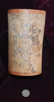 Pre-Columbian ~ MAYAN ~ Pre-Colombian Polychrome Cylindrical JAGUAR-MAN Vase ~NR