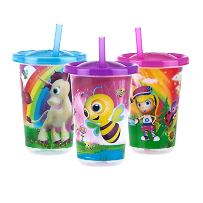 Nuby 3 Wash or Toss Cups Tumbler With Lids Straws Sippy Baby Toddler Kids 10 Oz