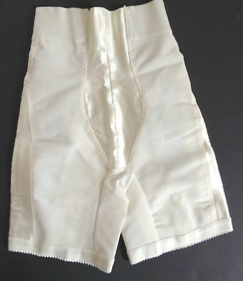 Vtg Sears Ivory Girdle Long Leg Panties Satin Insets Metal Garters Medium NOS