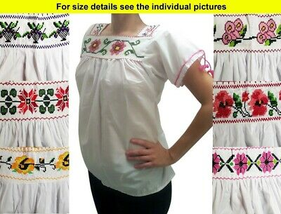 Authentic Hand made embroidered Mexican blouse Purepecha Michoacan Plus Sizes