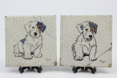 Carter Poole Pottery Tiles X 2 Designed By Cecil Aldin Dog Series