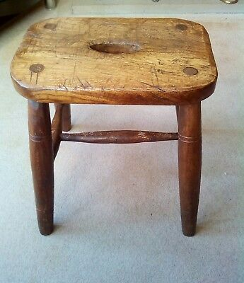 Victorian solid oak stools made about 1890 in very rustic condition.