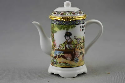 China Collectable Handwork Porcelain Paint Ancient Belle Delicate Toothpick Box