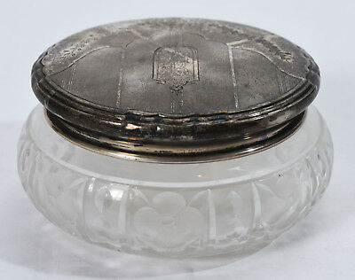 Small Old Art Deco Floral Garland Sterling & Cut Crystal Vanity Powder Jar
