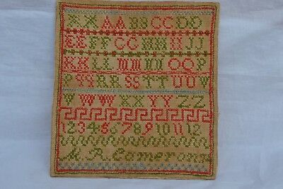 ANTIQUE SAMPLER of letters and Numbers,M.R.CAMERON Dated.74 Likely 1874