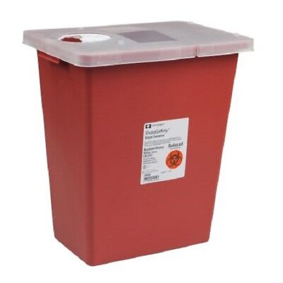 Sharps Container, 8 Gallon, Red, Hinged Lid, Multi-Purpose Kendall Covidien 8980