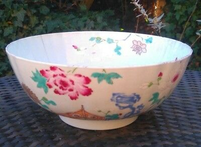 Antique Chinese 18th Century Export Porcelain Flowers Bowl