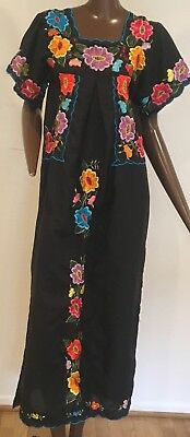 Vintage 1970s Amalin Mexican Black Multi Colored Embroidered Maxi Dress S/M