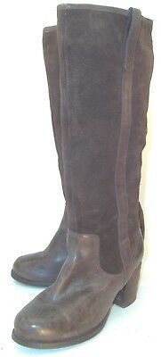 6a51b5b5ab2d Dolce Vita Wos Boots Tall US7.5 Brown Leather Suede Pull On Heels Shoes Moto