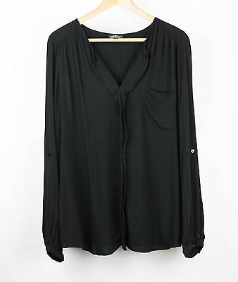 Topshop Maternity Womens Blouse Roll Up Long Sleeves Pullover Size 12 Black AM16