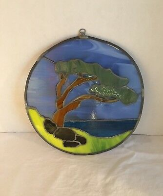 Vintage Stained Glass Sun Catcher Window Decoration With Nature Scene
