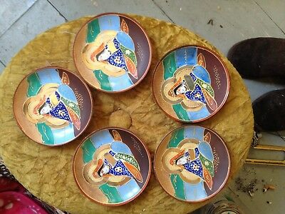 1950 japanese plate w mark  immortals saucers x 5 gold/blue/brown