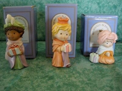 Vintage Heavenly Blessings Nativity Collection~1986~3 Wise Men Set~Mint~Iob