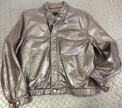 Vintage Bermans Leather Jacket Size 40 Brown Mens