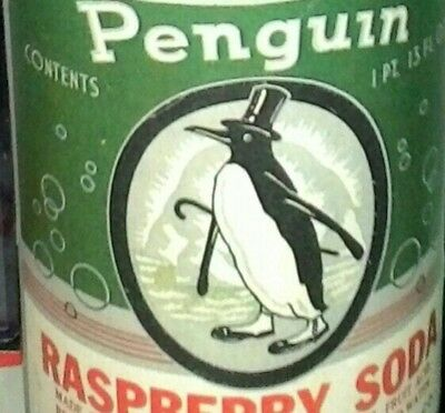 RARE,1950s VINTAGE OLD PENGUIN RASPBERRY SODA FULL BOTTLE,PAPER LABELS,ANTIQUE