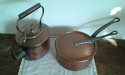 Vintage Copper Kettle and Heavy Saucepan with lid