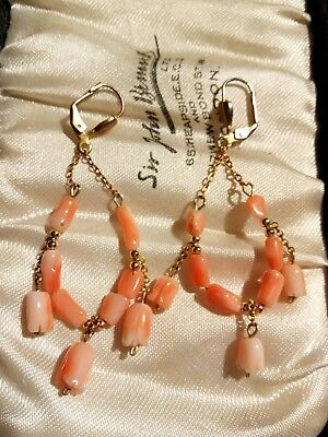 VINTAGE genuine CORAL CARVED BEADS DROP DANGLY EARRINGS HANDCRAFTED