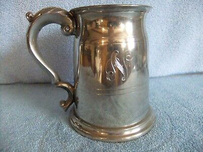 Pewter Tankard with Glass Bottom - Made in Sheffield, England - LQQK!!