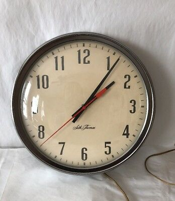 Working Vintage Seth Thomas School / Industrial Electric Wall Clock