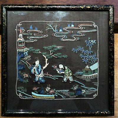A Small Framed Vintage Chinese Silk Hand Embroidery Panel - Men Pagodas River