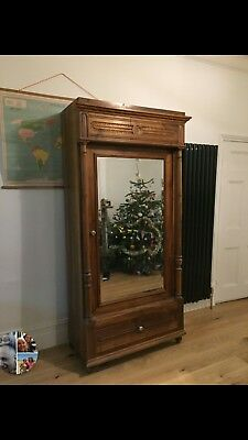 wooden antique french armoire cupboard wardrobe with mirror