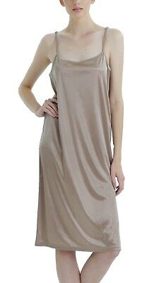 Women's basis long satin full slip with adjustable straps