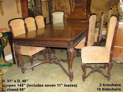 19th Century French Mahogany Dining Set with Twelve Original Dining Chairs