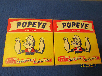 2 VINTAGE 8mm POPEYE CARTOONS CARNIVAL FILMS THE NURSE MAID, POPEYE THE CHAMP