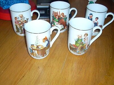 Lot of 5 Norman Rockwell Cups