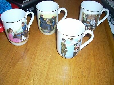 Lot of 4  1882 Norman Rockwell Mugs Back to School, Lazy, Days, Hopeless Case, A