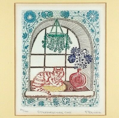 Staffordshire Cat by F. Rainnie LIMITED Framed Signed & Numbered Etching Print