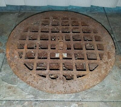 "VTG 9.5"" Round Cast Iron Metal Floor Register Heat Grate Vent 7.5"" bottom"