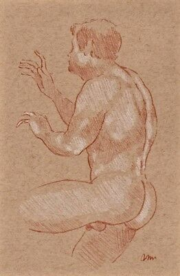 ORIGINAL NUDE MALE FIGURE  6x9 RED WHITE CHALK PASTEL DRAWING